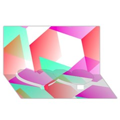 Geometric 03 Pink Twin Heart Bottom 3D Greeting Card (8x4)
