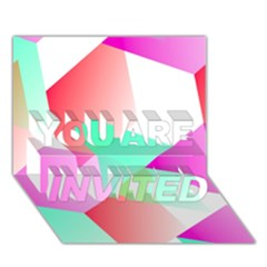 Geometric 03 Pink YOU ARE INVITED 3D Greeting Card (7x5)