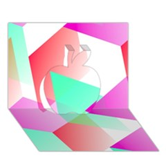 Geometric 03 Pink Apple 3d Greeting Card (7x5)