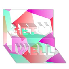 Geometric 03 Pink Get Well 3D Greeting Card (7x5)