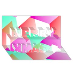 Geometric 03 Pink Merry Xmas 3d Greeting Card (8x4)