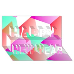 Geometric 03 Pink Happy New Year 3D Greeting Card (8x4)