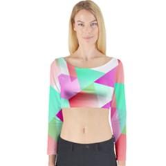 Geometric 03 Pink Long Sleeve Crop Top