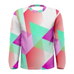 Geometric 03 Pink Men s Long Sleeve T Shirts