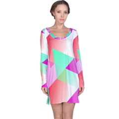 Geometric 03 Pink Long Sleeve Nightdresses