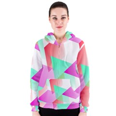 Geometric 03 Pink Women s Zipper Hoodies