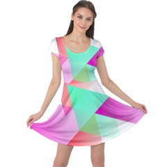Geometric 03 Pink Cap Sleeve Dresses