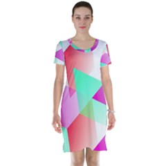 Geometric 03 Pink Short Sleeve Nightdresses