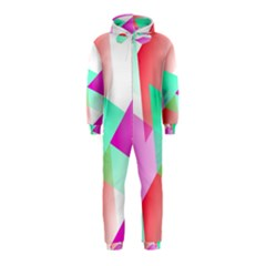Geometric 03 Pink Hooded Jumpsuit (Kids)