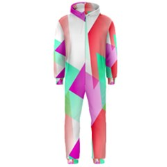 Geometric 03 Pink Hooded Jumpsuit (men)