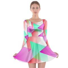 Geometric 03 Pink Long Sleeve Skater Dress
