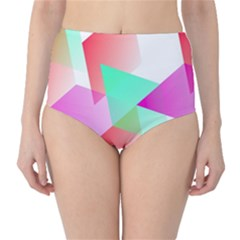 Geometric 03 Pink High Waist Bikini Bottoms