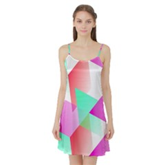 Geometric 03 Pink Satin Night Slip