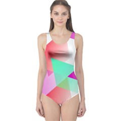Geometric 03 Pink Women s One Piece Swimsuits