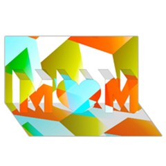Geometric 03 Orange Mom 3d Greeting Card (8x4)