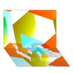 Geometric 03 Orange Love Bottom 3d Greeting Card (7x5)