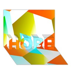 Geometric 03 Orange HOPE 3D Greeting Card (7x5)