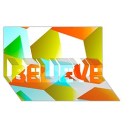 Geometric 03 Orange BELIEVE 3D Greeting Card (8x4)