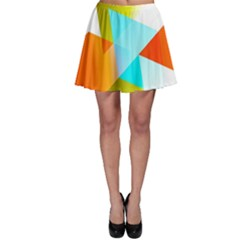 Geometric 03 Orange Skater Skirts
