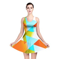 Geometric 03 Orange Reversible Skater Dresses