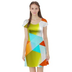 Geometric 03 Orange Short Sleeve Skater Dresses