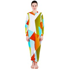 Geometric 03 Orange OnePiece Jumpsuit (Ladies)