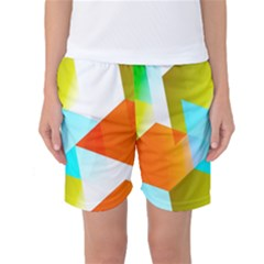 Geometric 03 Orange Women s Basketball Shorts