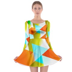 Geometric 03 Orange Long Sleeve Skater Dress