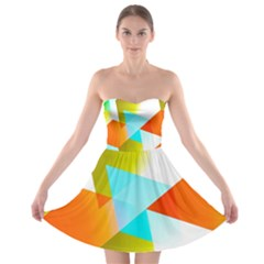 Geometric 03 Orange Strapless Bra Top Dress