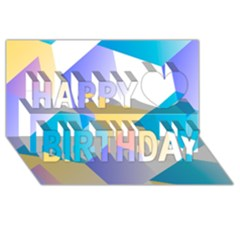 Geometric 03 Blue Happy Birthday 3D Greeting Card (8x4)