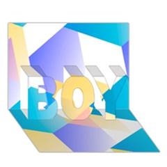 Geometric 03 Blue Boy 3d Greeting Card (7x5)
