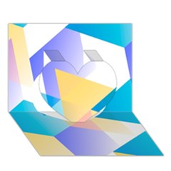 Geometric 03 Blue Heart 3d Greeting Card (7x5)