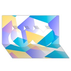 Geometric 03 Blue Twin Hearts 3D Greeting Card (8x4)