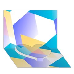 Geometric 03 Blue Heart Bottom 3d Greeting Card (7x5)