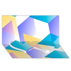 Geometric 03 Blue Twin Heart Bottom 3D Greeting Card (8x4)