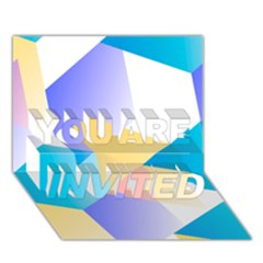 Geometric 03 Blue YOU ARE INVITED 3D Greeting Card (7x5)