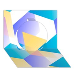 Geometric 03 Blue Circle 3d Greeting Card (7x5)