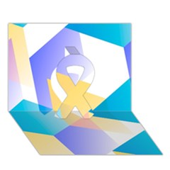 Geometric 03 Blue Ribbon 3D Greeting Card (7x5)