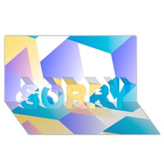 Geometric 03 Blue Sorry 3d Greeting Card (8x4)