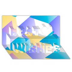 Geometric 03 Blue Best Wish 3d Greeting Card (8x4)