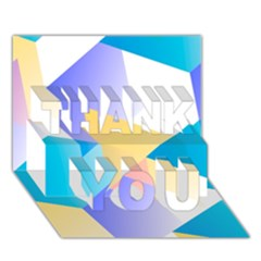 Geometric 03 Blue THANK YOU 3D Greeting Card (7x5)