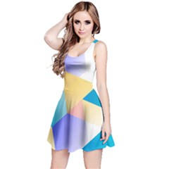 Geometric 03 Blue Reversible Sleeveless Dresses