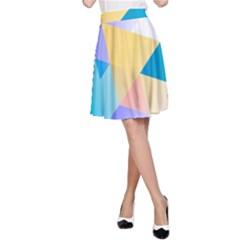 Geometric 03 Blue A-Line Skirts