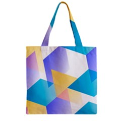 Geometric 03 Blue Zipper Grocery Tote Bags