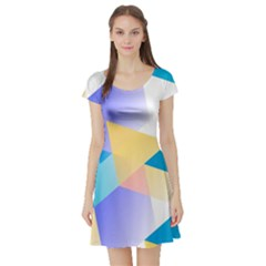 Geometric 03 Blue Short Sleeve Skater Dresses