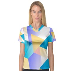 Geometric 03 Blue Women s V-Neck Sport Mesh Tee