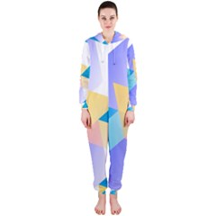 Geometric 03 Blue Hooded Jumpsuit (Ladies)