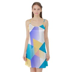 Geometric 03 Blue Satin Night Slip
