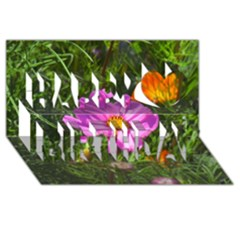 Amazing Garden Flowers 24 Happy Birthday 3D Greeting Card (8x4)