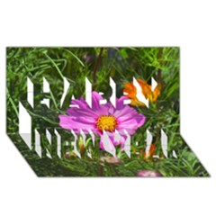 Amazing Garden Flowers 24 Happy New Year 3D Greeting Card (8x4)